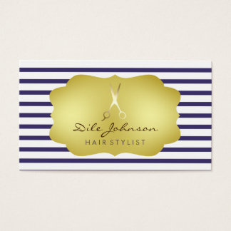 Hair Stylist Striped Gold Faux Saloon Business Card