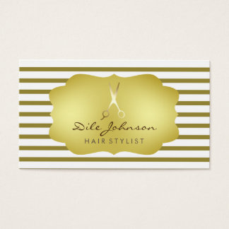 Hair Stylist Striped Gold Faux Saloon Professional Business Card