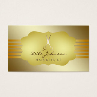 Hair Stylist Striped Gold Glitter Saloon Business Card