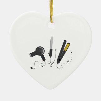 Hair Stylist Tools Double-Sided Heart Ceramic Christmas Ornament