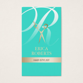 Hair Stylist Turquoise & Gold Monogram Appointment Business Card