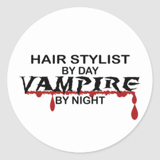 Hair Stylist Vampire by Night Classic Round Sticker