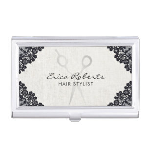 Hair stylist business card holders cases zazzle hair stylist vintage black laced hair salon business card holder reheart Image collections