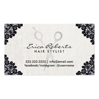 Hair Stylist Vintage Black Laced Salon Appointment Business Card