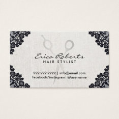 Hair Stylist Vintage Black Laced Salon Appointment Business Card at Zazzle