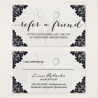 Hair Stylist Vintage Black Laced Salon Referral Business Card