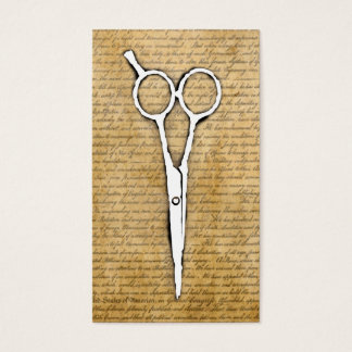 Hair Stylist Vintage Burned Paper Scissor Classy Business Card