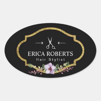 Hair Stylist Vintage Floral Elegant Beauty Salon Oval Sticker