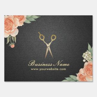 Hair Stylist Vintage Floral Elegant Black & Gold Sign