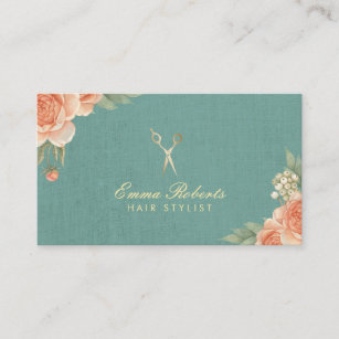 Linen business cards zazzle hair stylist vintage floral elegant linen business card reheart Image collections