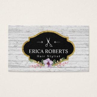 Hair Stylist Vintage Floral Rustic Wood Business Card