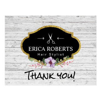 Hair Stylist Vintage Floral Rustic Wood Thank You Postcard