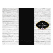Hair Stylist Vintage Floral Rustic Wood Trifold Flyer