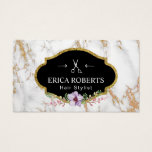 Hair Stylist Vintage Floral Trendy White Marble Business Card