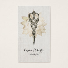 Hair Stylist Vintage Scissor Floral Classy Linen Business Card at Zazzle