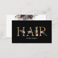 Hair Stylist Watercolor Floral Typography Business Card