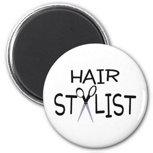 Hair Stylist with Scissors Refrigerator Magnet