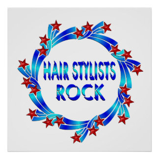 Hair Stylists Rock Red Stars Poster