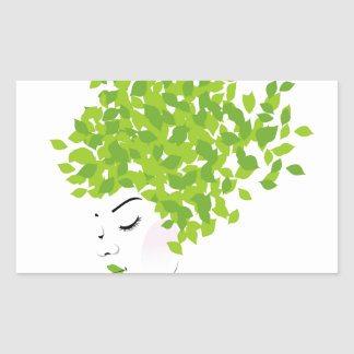Hair with green leaves rectangular sticker