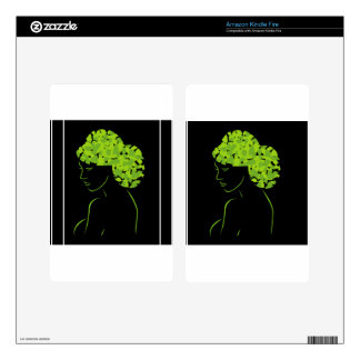 Hair with leaves kindle fire decals