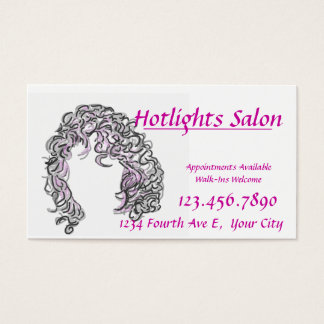 Hair with Pink Highlights Beauty Salon Card