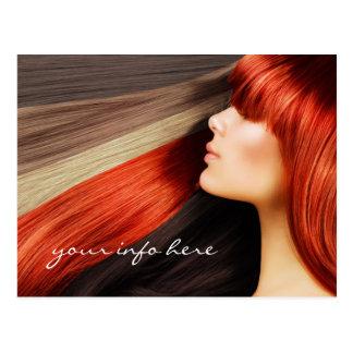 Haircut Stylist Colored Long Hair Design Postcard
