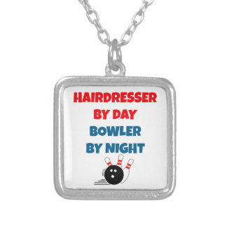 Hairdresser by Day Bowler by Night Square Pendant Necklace