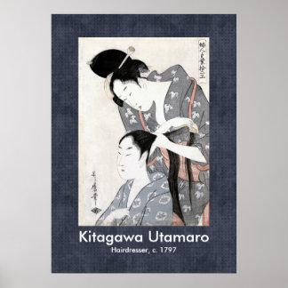 Hairdresser by Kitagawa Ukiyo-e Scroll Design Poster