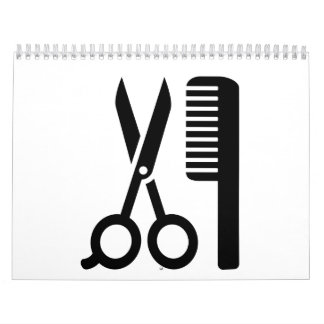 Hairdresser comb scissors wall calendar