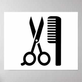 Hairdresser comb scissors poster