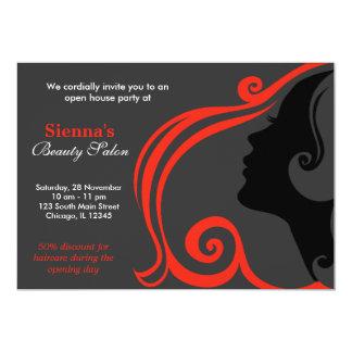 Hairdresser (firebrick) personalized invitation