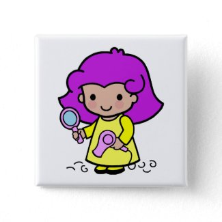 Hairdresser Girl Pinback Button
