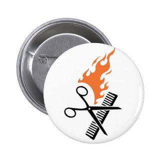 Hairdresser on fire pinback buttons