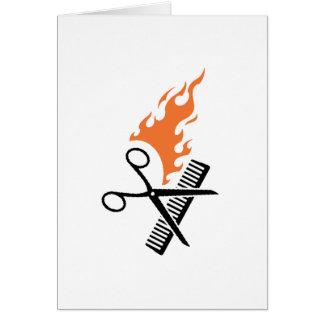 Hairdresser on fire card