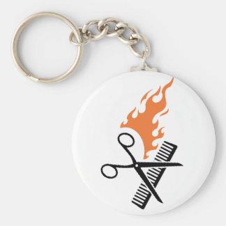 Hairdresser on fire keychain