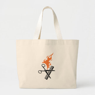Hairdresser on fire large tote bag
