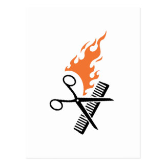 Hairdresser on fire postcard