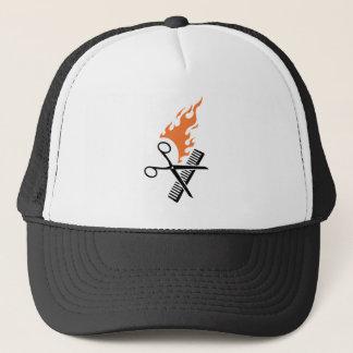 Hairdresser on fire trucker hat