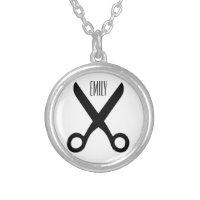 Hairdresser Scissors Custom Name or Monogram Silver Plated Necklace