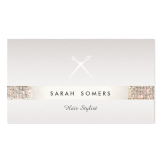 Hairdresser Scissors Logo FAUX Silver Sequin Taupe Double-Sided Standard Business Cards (Pack Of 100)