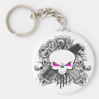 Hairdresser Skull Basic Round Button Keychain