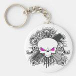 Hairdresser Skull Keychain
