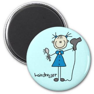 Hairdresser Stick Figure 2 Inch Round Magnet