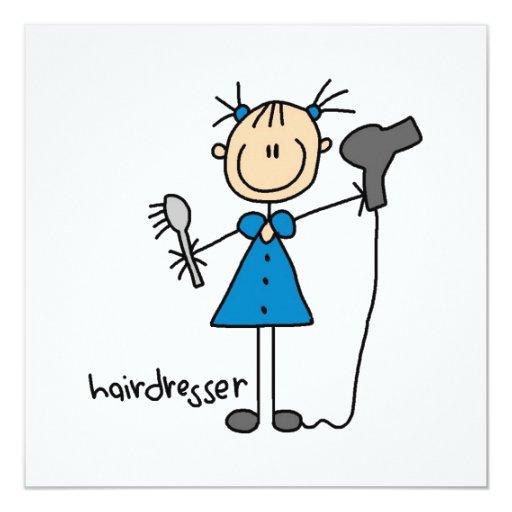"Hairdresser Stick Figure 5.25"" Square Invitation Card"