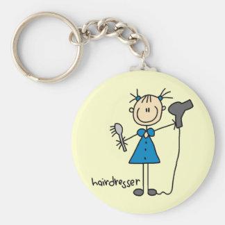 Hairdresser Stick Figure Keychain
