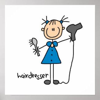 Hairdresser Stick Figure Posters