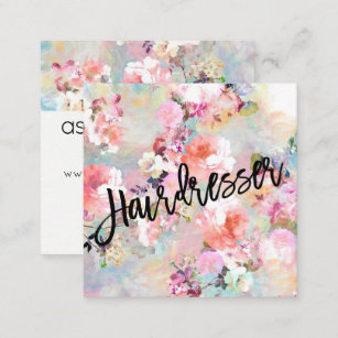 Hairdresser business cards templates zazzle hairdresser typography modern floral watercolor square business card colourmoves