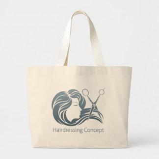 Hairdresser Woman Scissor Concept Large Tote Bag