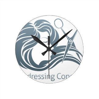 Hairdresser Woman Scissor Concept Round Clock