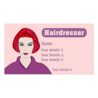 Hairdresser's Card Redhead - Pink & Purple Text Business Card
